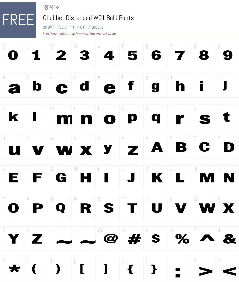 ChubbetDistendedW01-Bold Font Screenshots