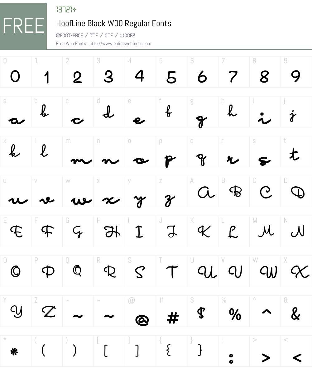 HoofLineBlackW00-Regular Font Screenshots