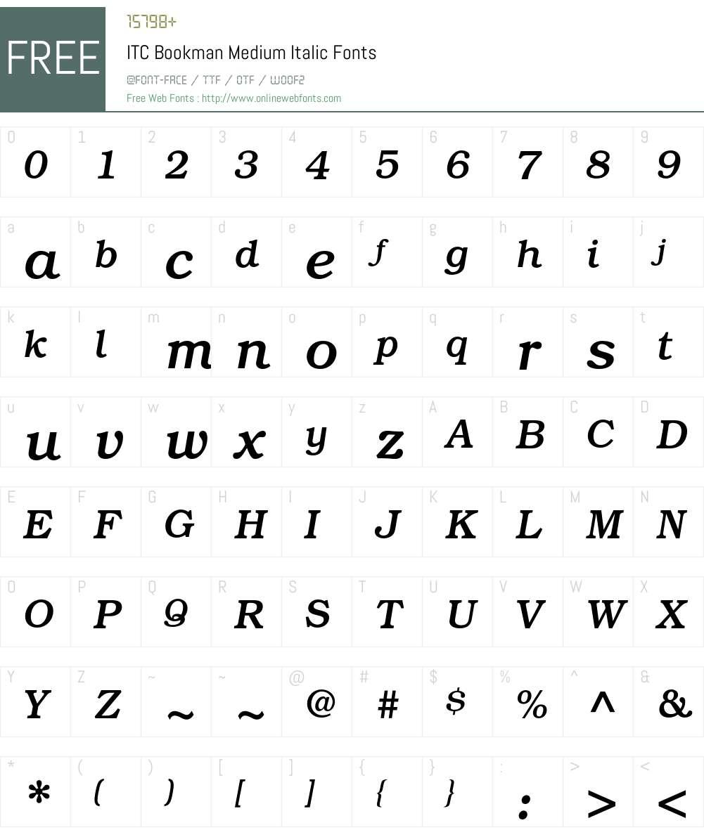 ITC Bookman Font Screenshots