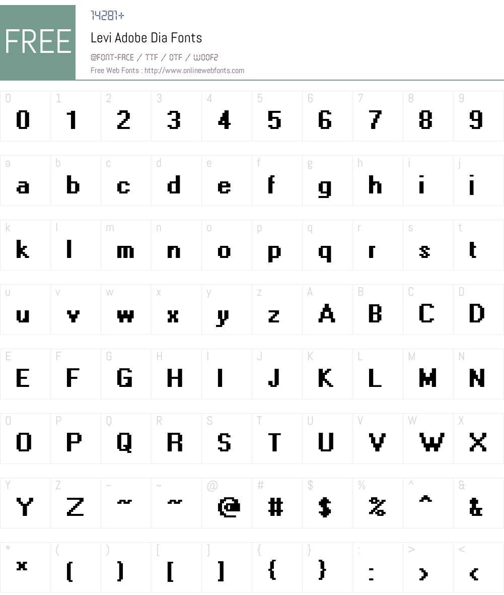 Levi Adobe Dia Font Screenshots