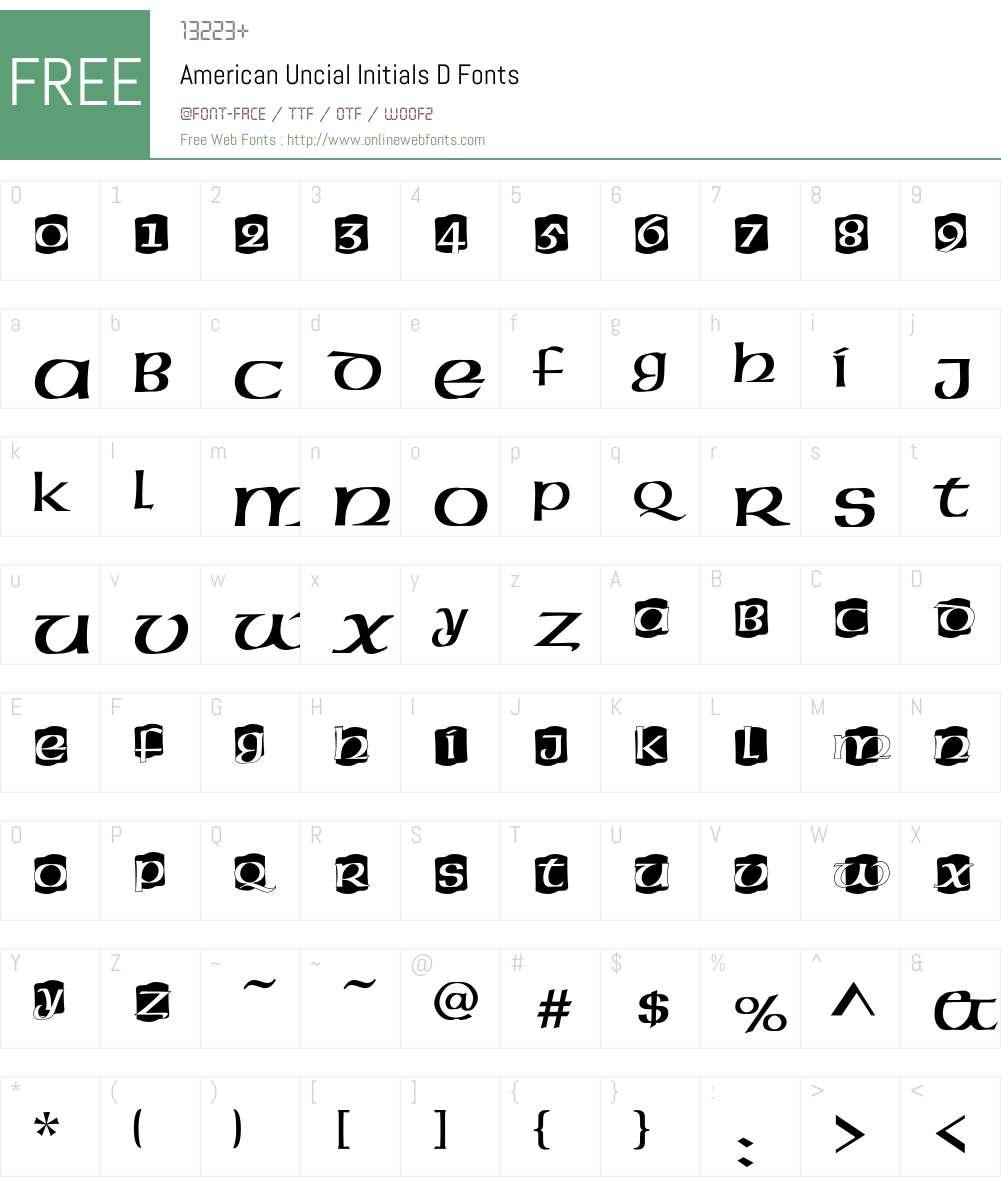 American Uncial Initials D Font Screenshots
