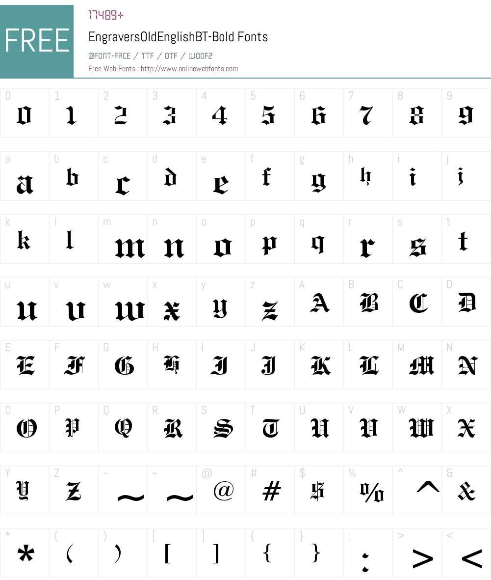 Engravers' Old English Font Screenshots