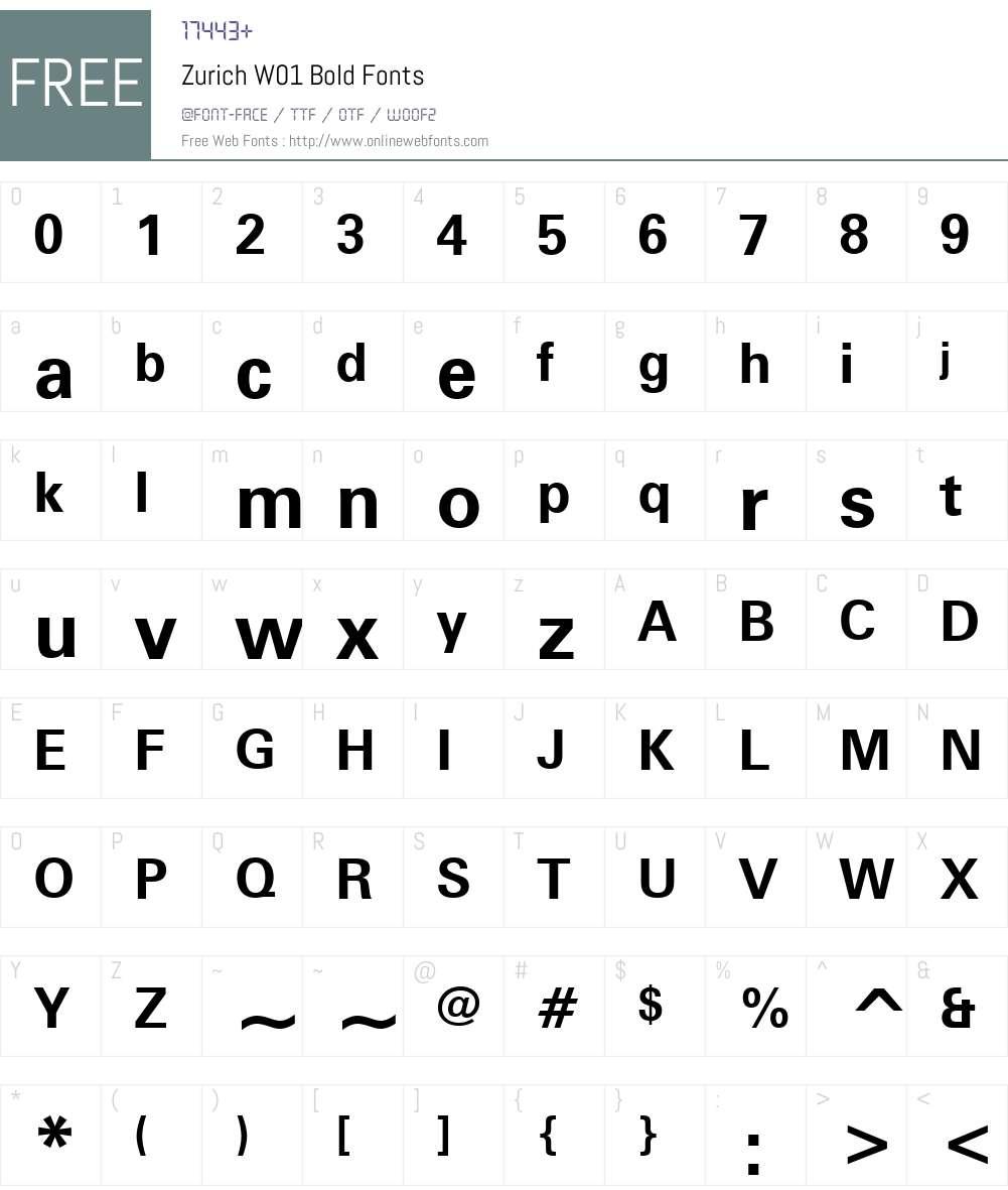 ZurichW01-Bold Font Screenshots