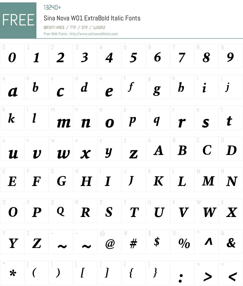 SinaNovaW01-ExtraBoldItalic Font Screenshots