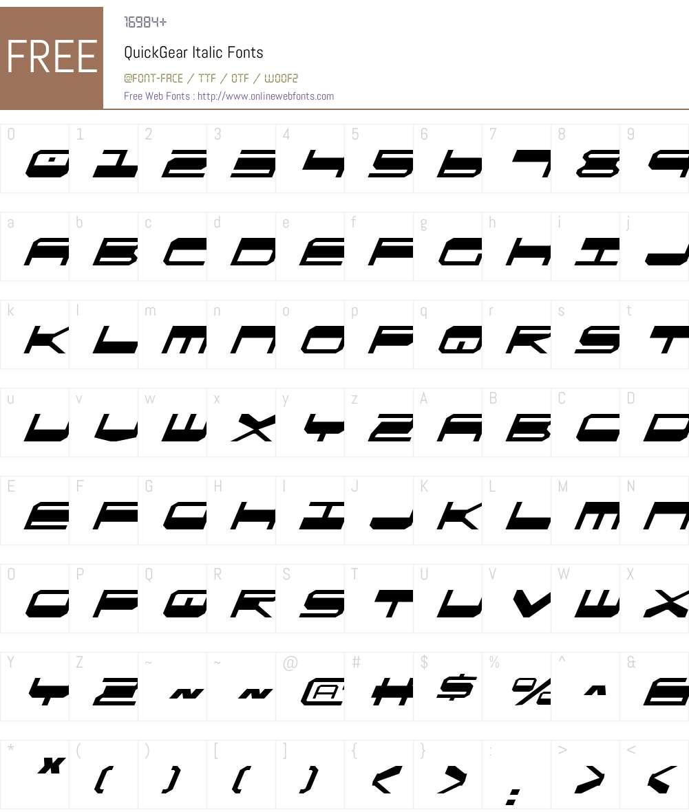 QuickGear Italic Font Screenshots