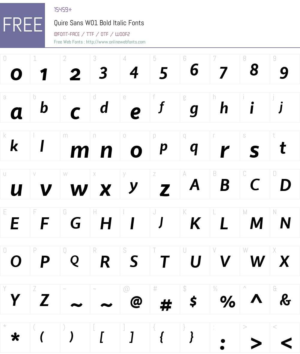 QuireSansW01-BoldItalic Font Screenshots