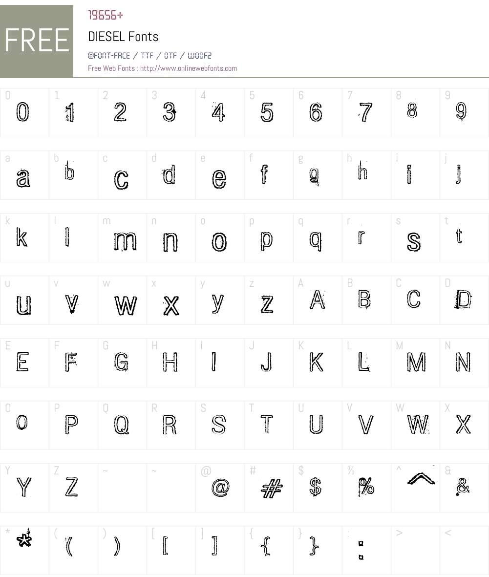 DIESEL Font Screenshots