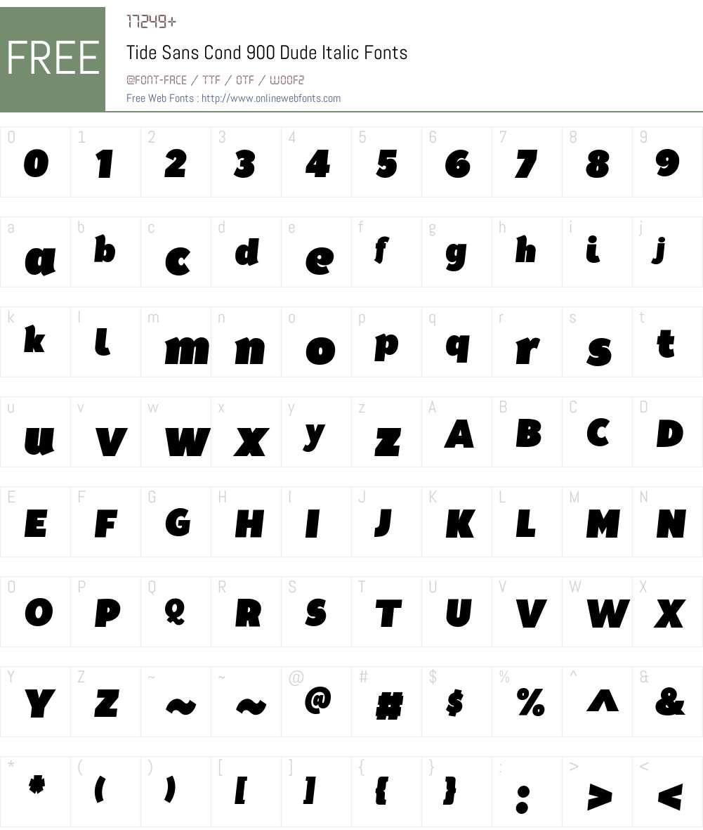 Tide Sans Cond 900 Dude Italic Font Screenshots
