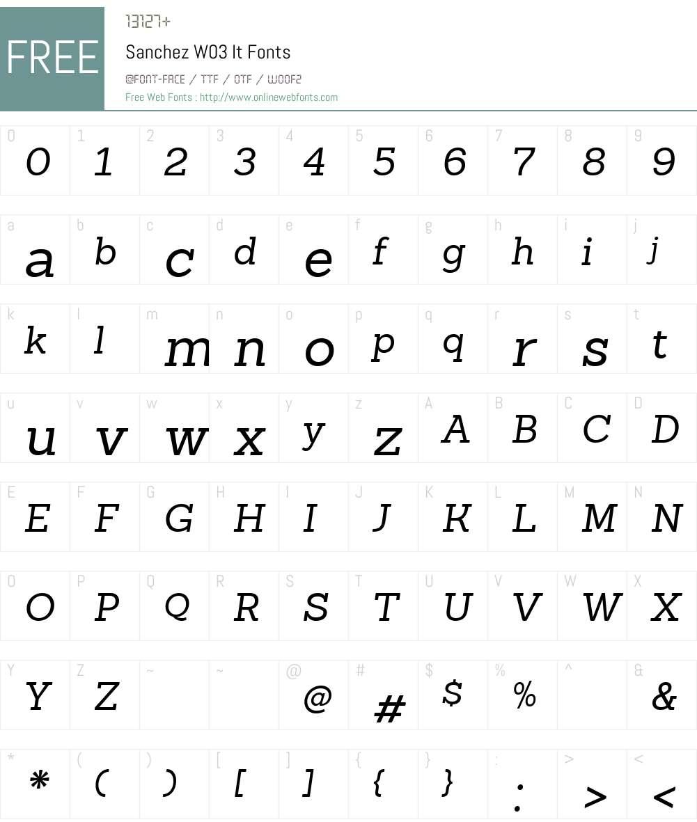 SanchezW03-It Font Screenshots