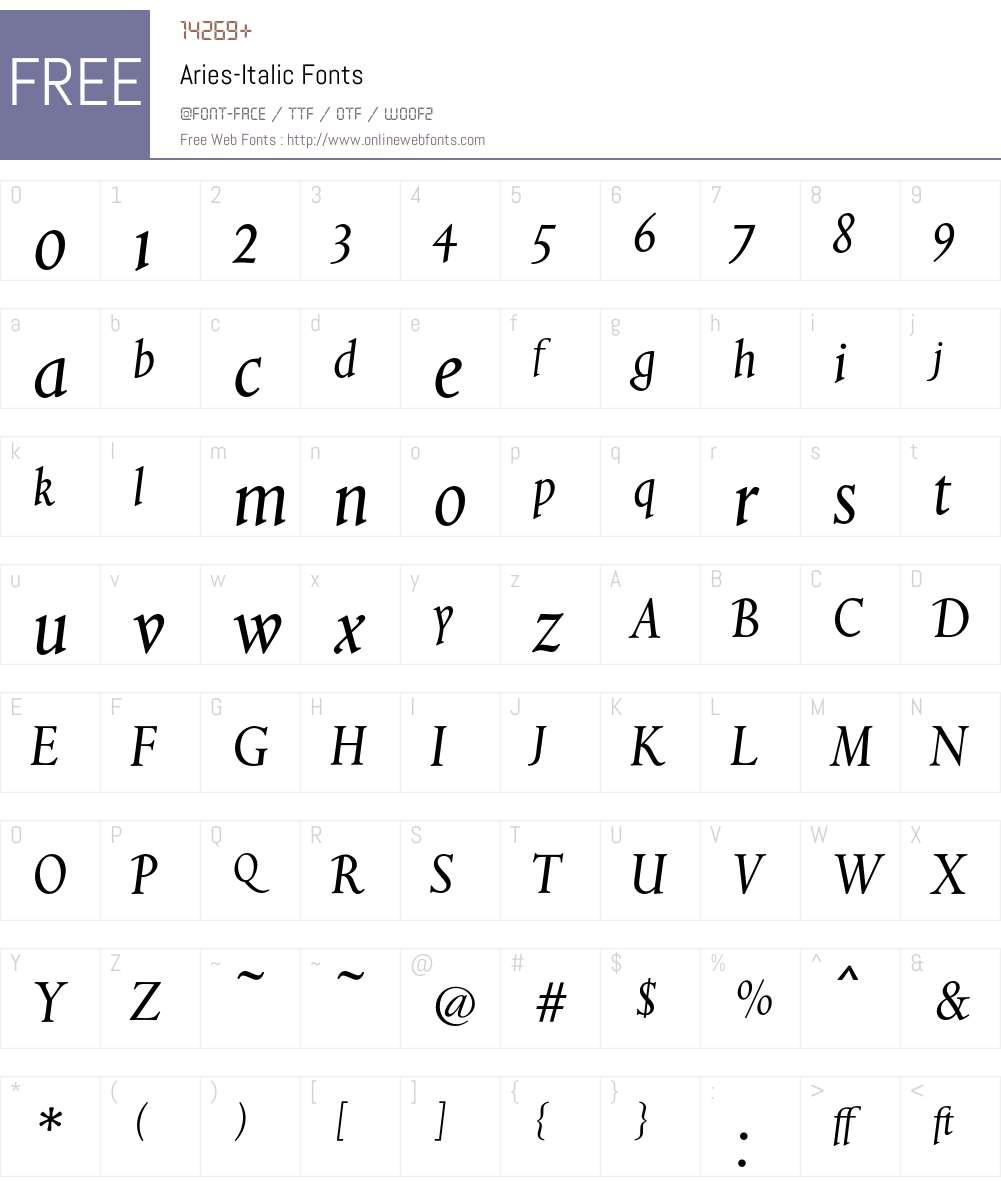 Aries Font Screenshots