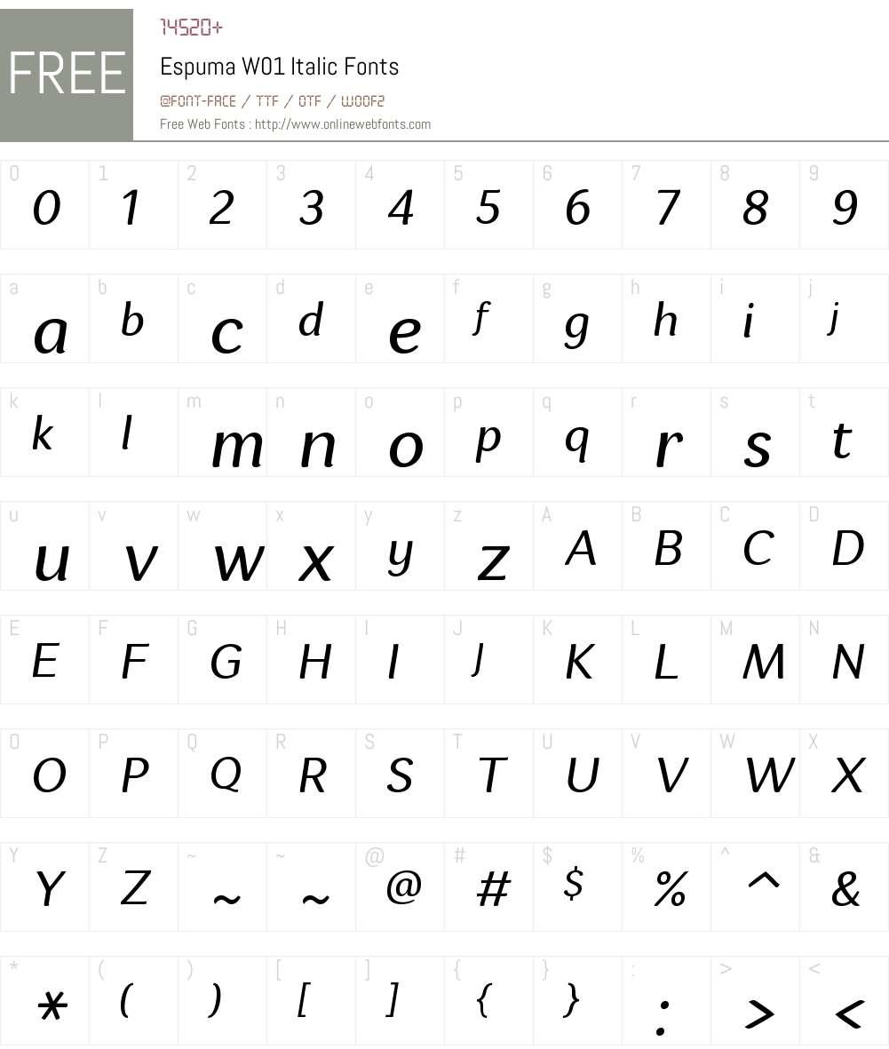 EspumaW01-Italic Font Screenshots