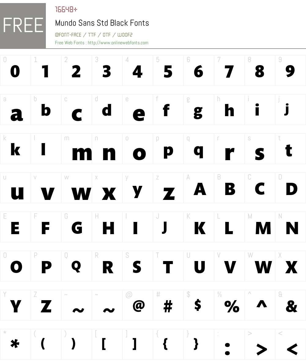 Mundo Sans Std Font Screenshots