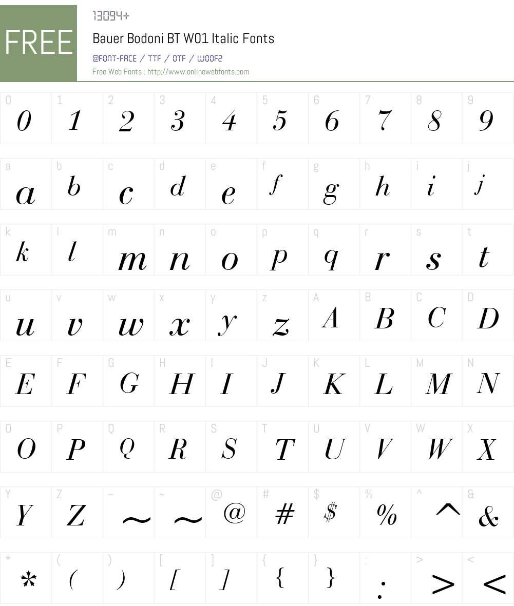 BauerBodoniBTW01-Italic Font Screenshots