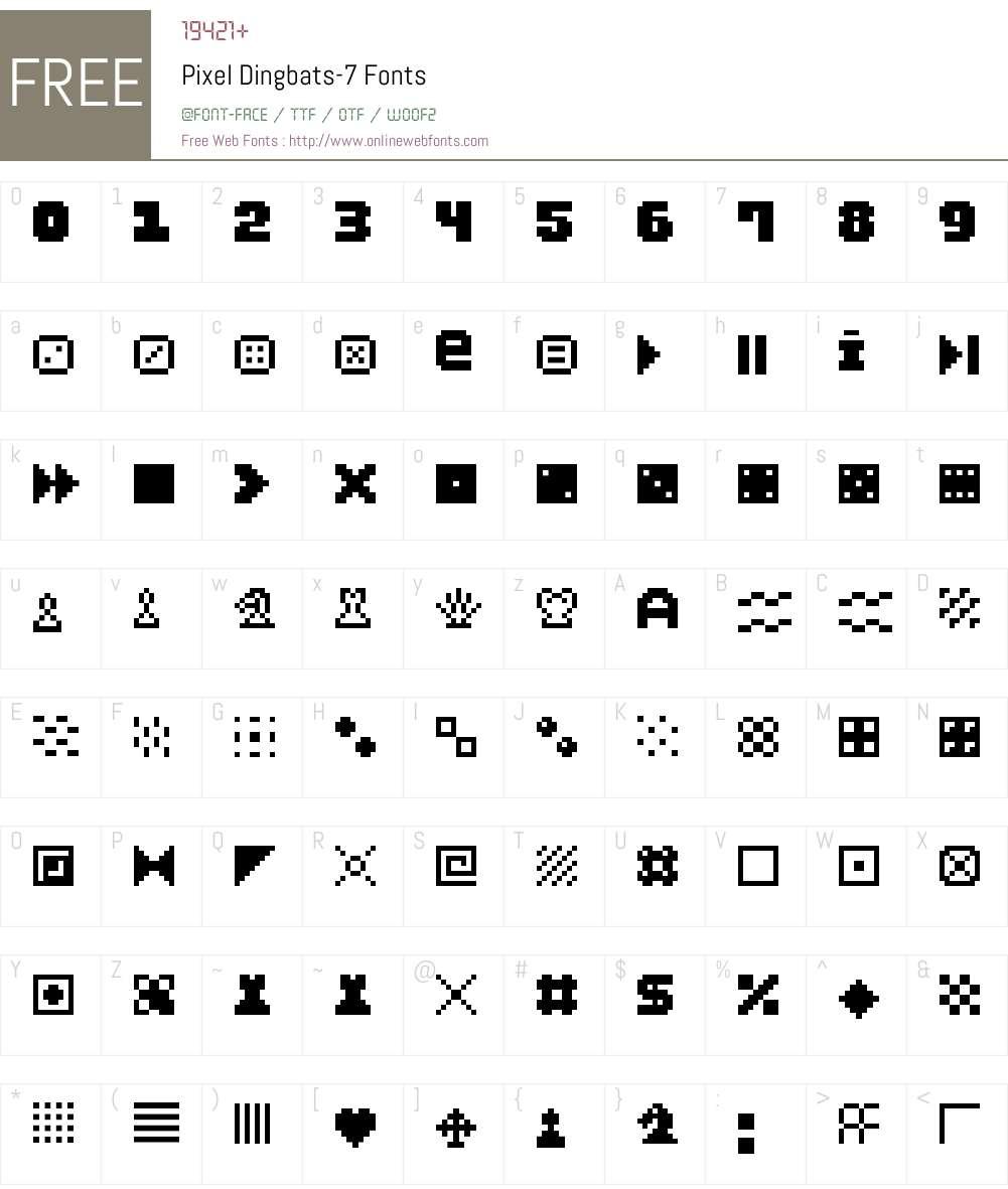 Pixel Dingbats-7 Font Screenshots