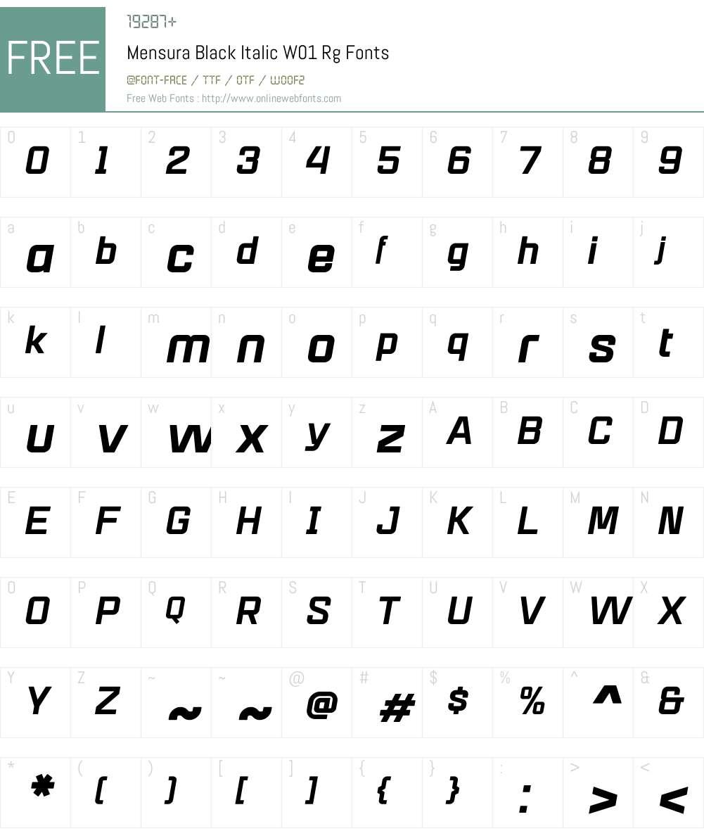 MensuraBlackItalicW01-Rg Font Screenshots