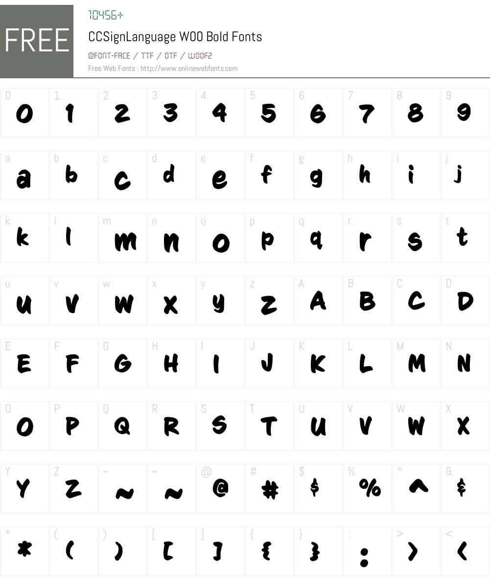 CCSignLanguageW00-Bold Font Screenshots