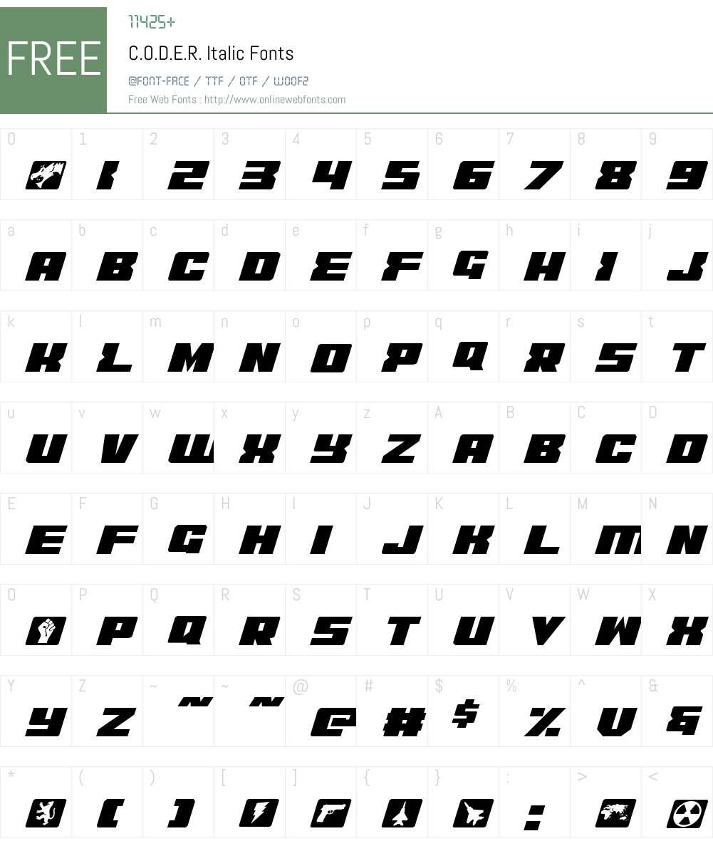 C.O.D.E.R. Italic Font Screenshots
