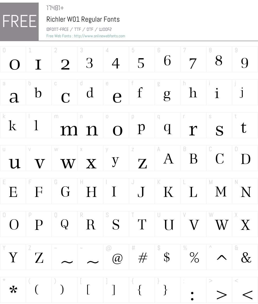 RichlerW01-Regular Font Screenshots