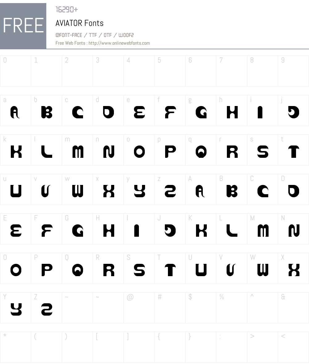 AVIATOR Font Screenshots