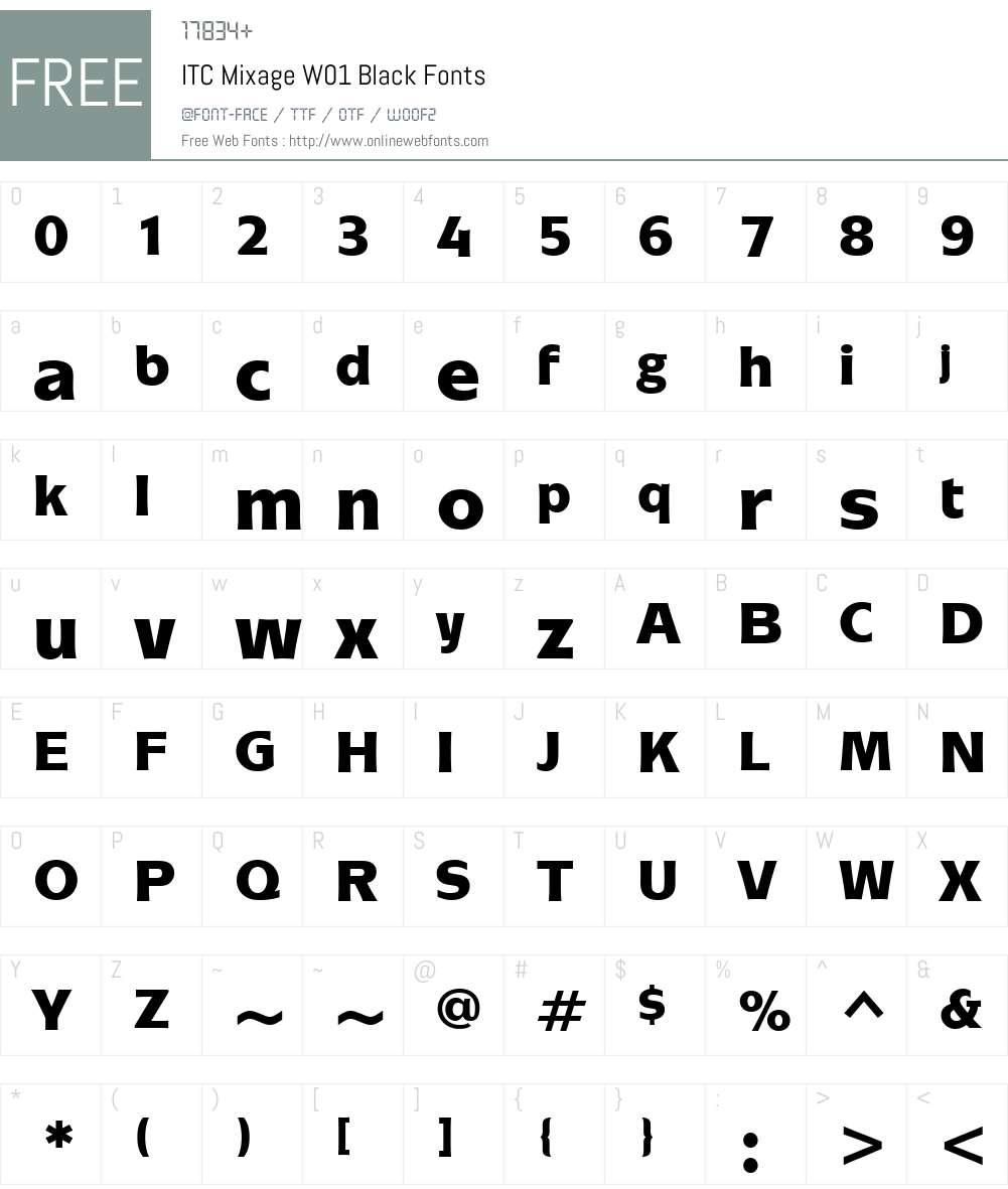 ITCMixageW01-Black Font Screenshots