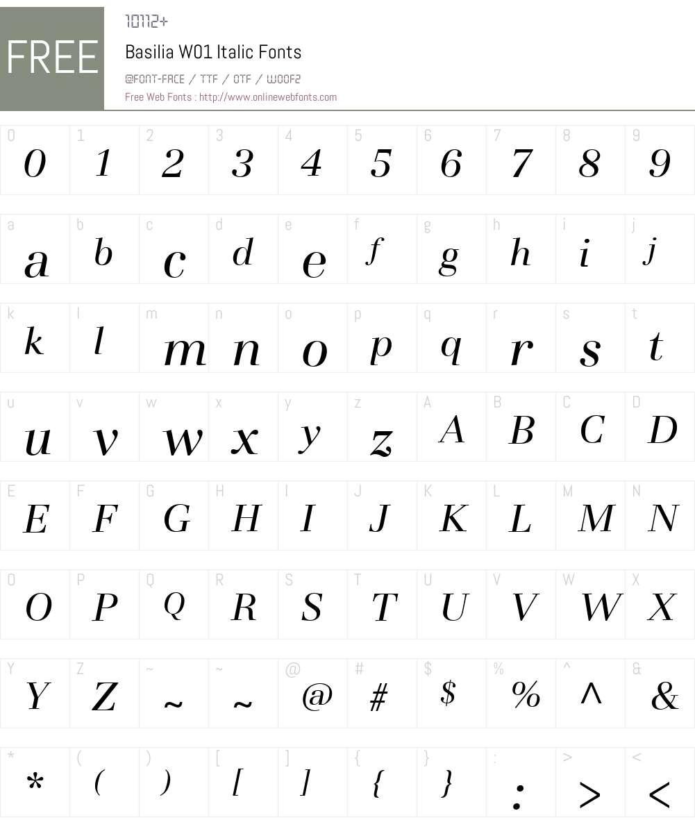 BasiliaW01-Italic Font Screenshots