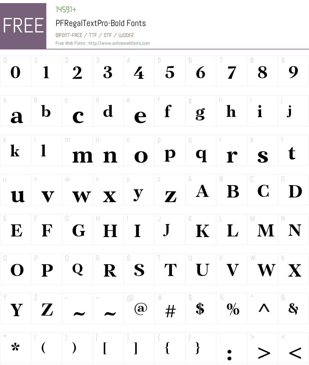 PF Regal Text Pro Font Screenshots