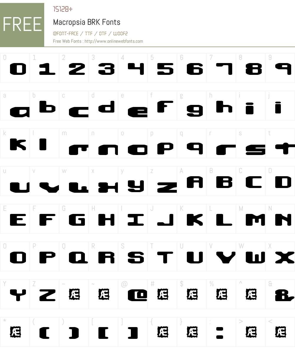 Macropsia BRK Font Screenshots