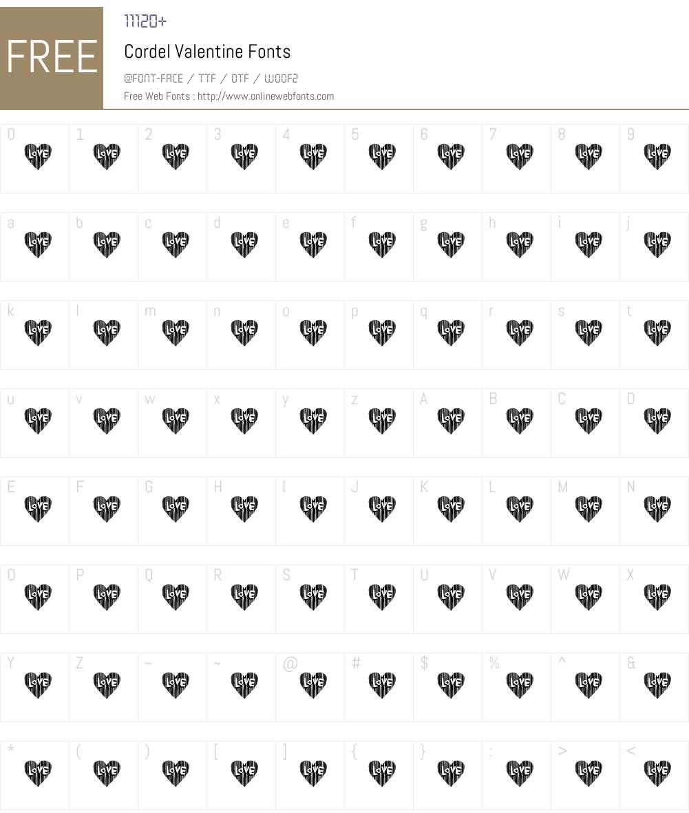 Cordel Valentine Font Screenshots