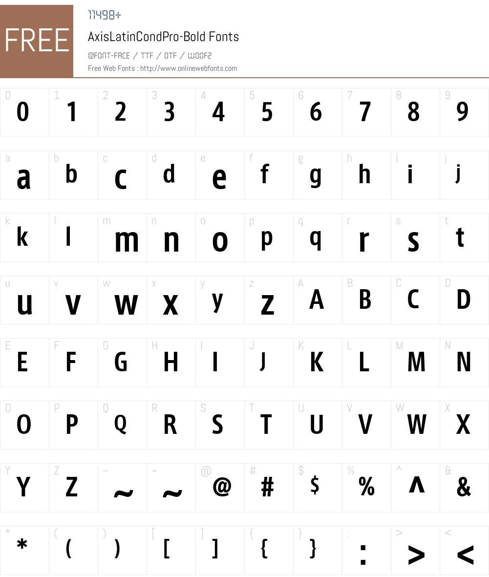 AxisLatinCondPro-Bold Font Screenshots