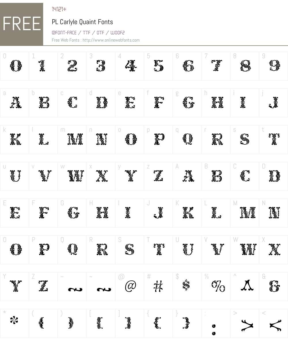 PL Carlyle Quaint Font Screenshots