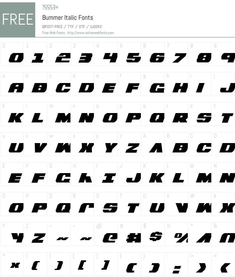 Bummer Italic Font Screenshots