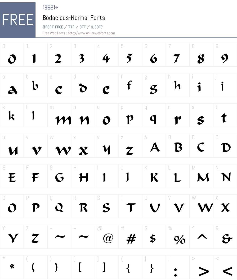 Bodacious-Normal Font Screenshots