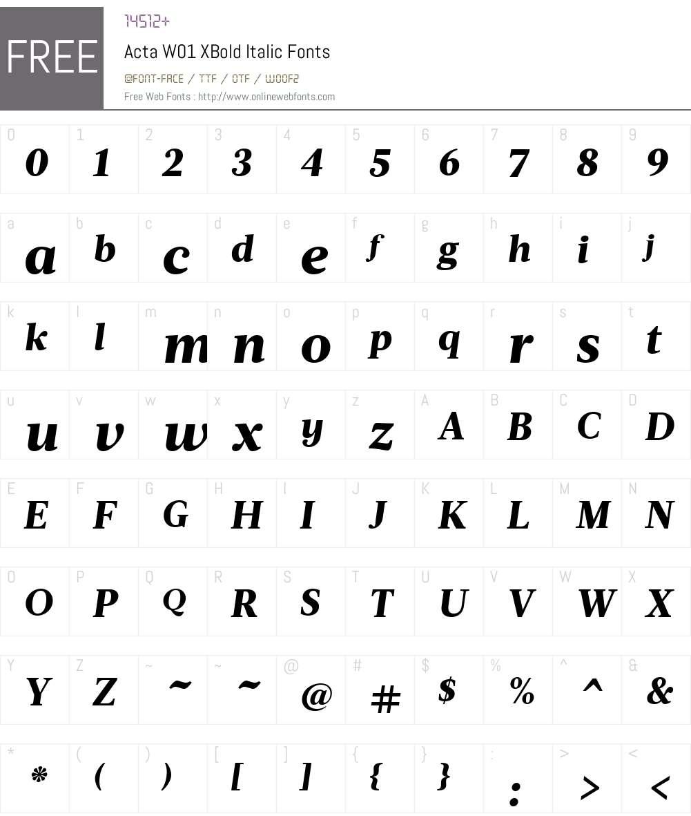 ActaW01-XBoldItalic Font Screenshots