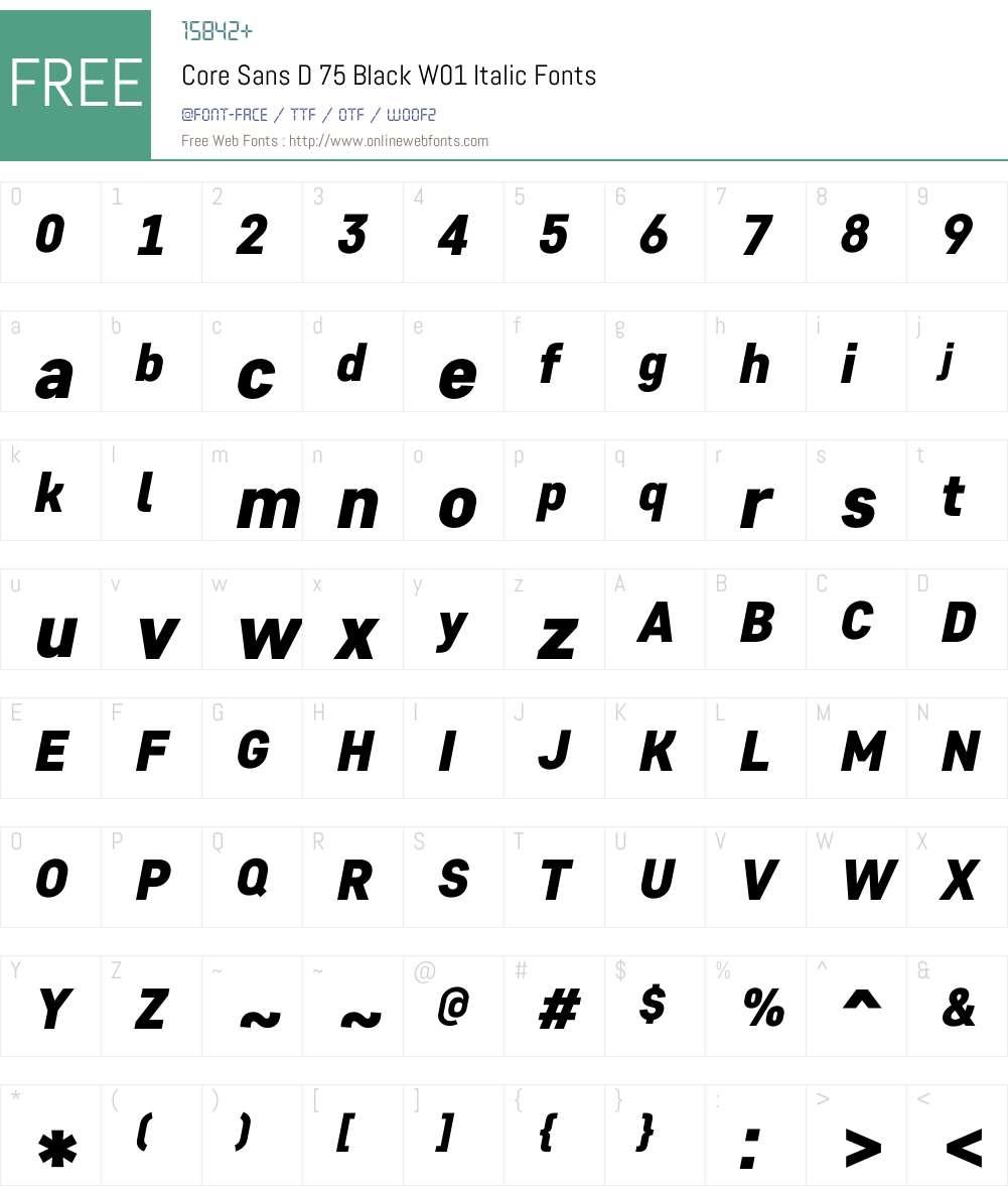 CoreSansD75BlackW01-Italic Font Screenshots