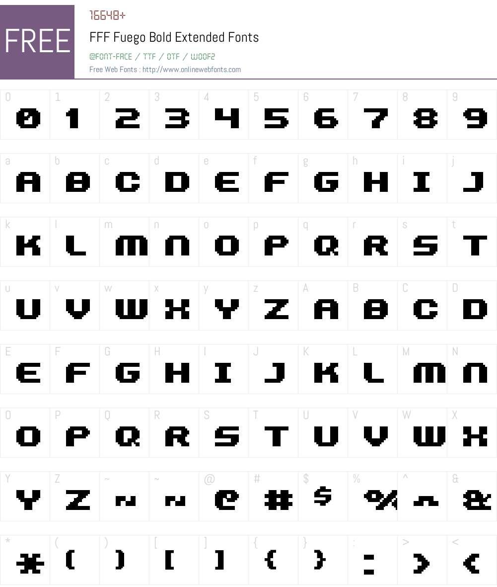 FFF Fuego Bold Extended Font Screenshots
