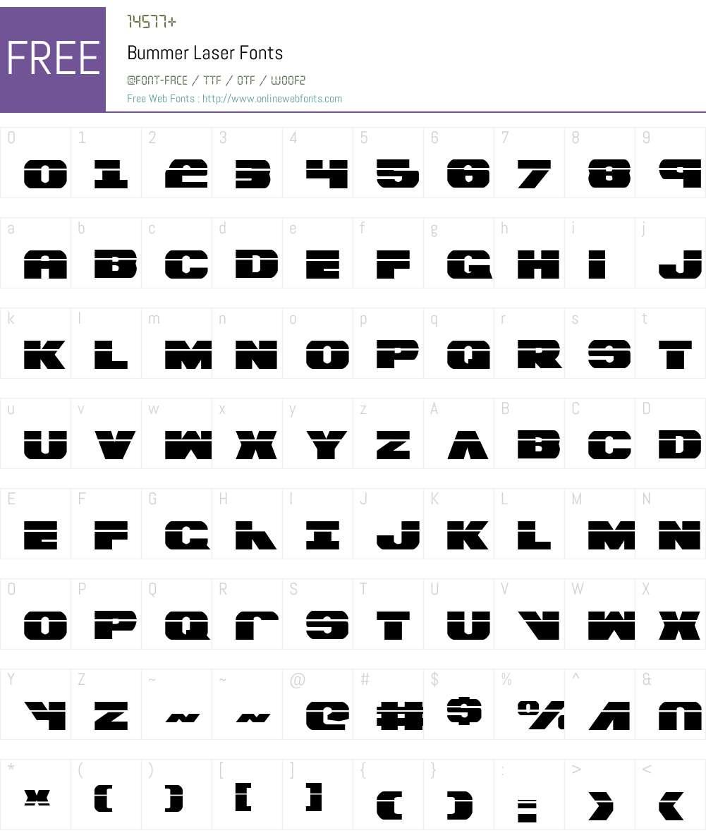 Bummer Laser Font Screenshots