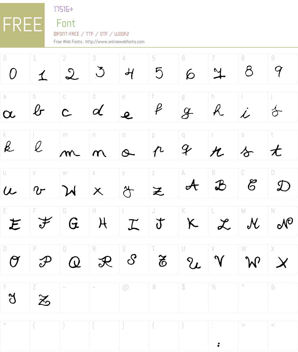 Quick Cursive Font Screenshots
