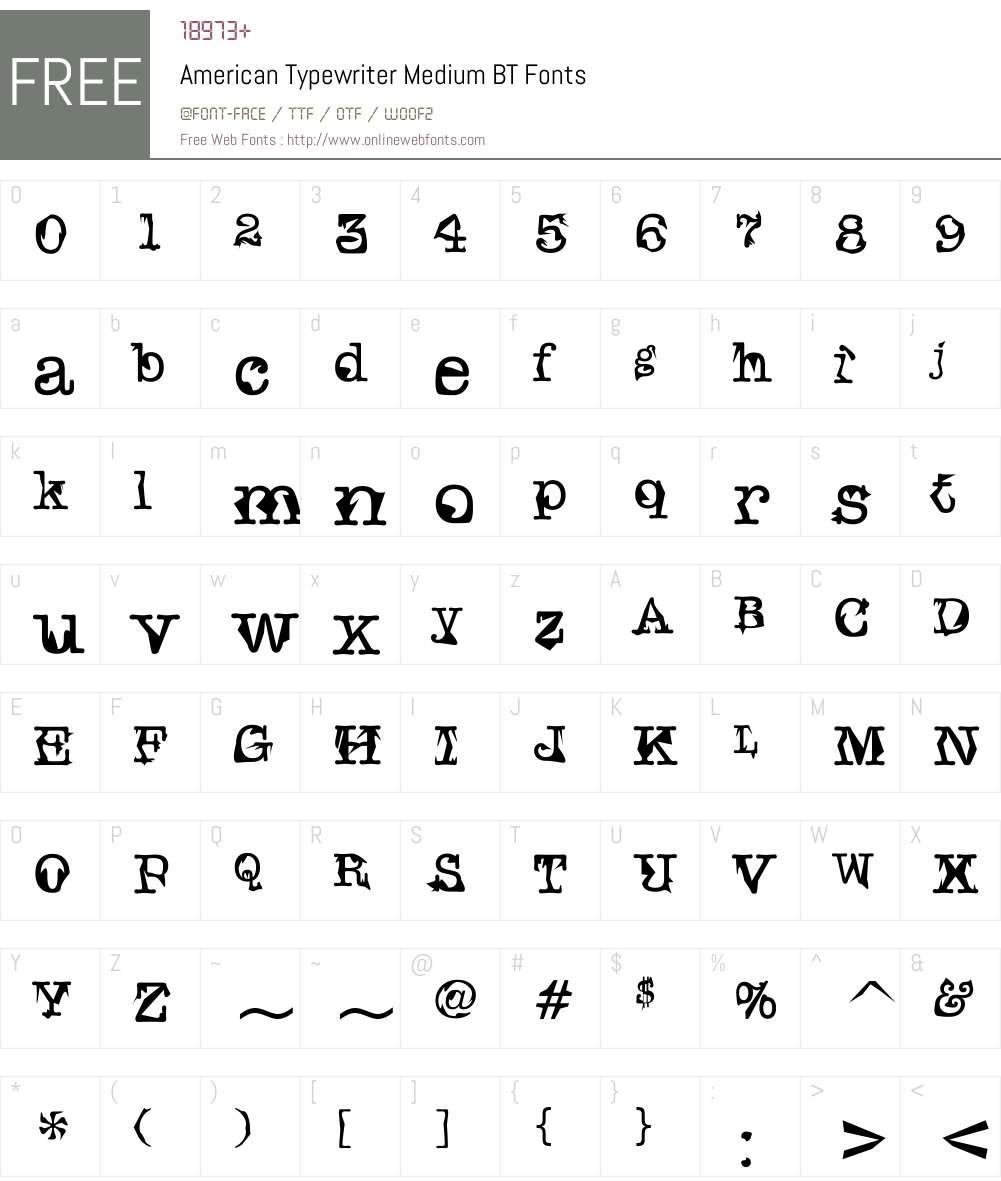 AmerType Md BT Font Screenshots