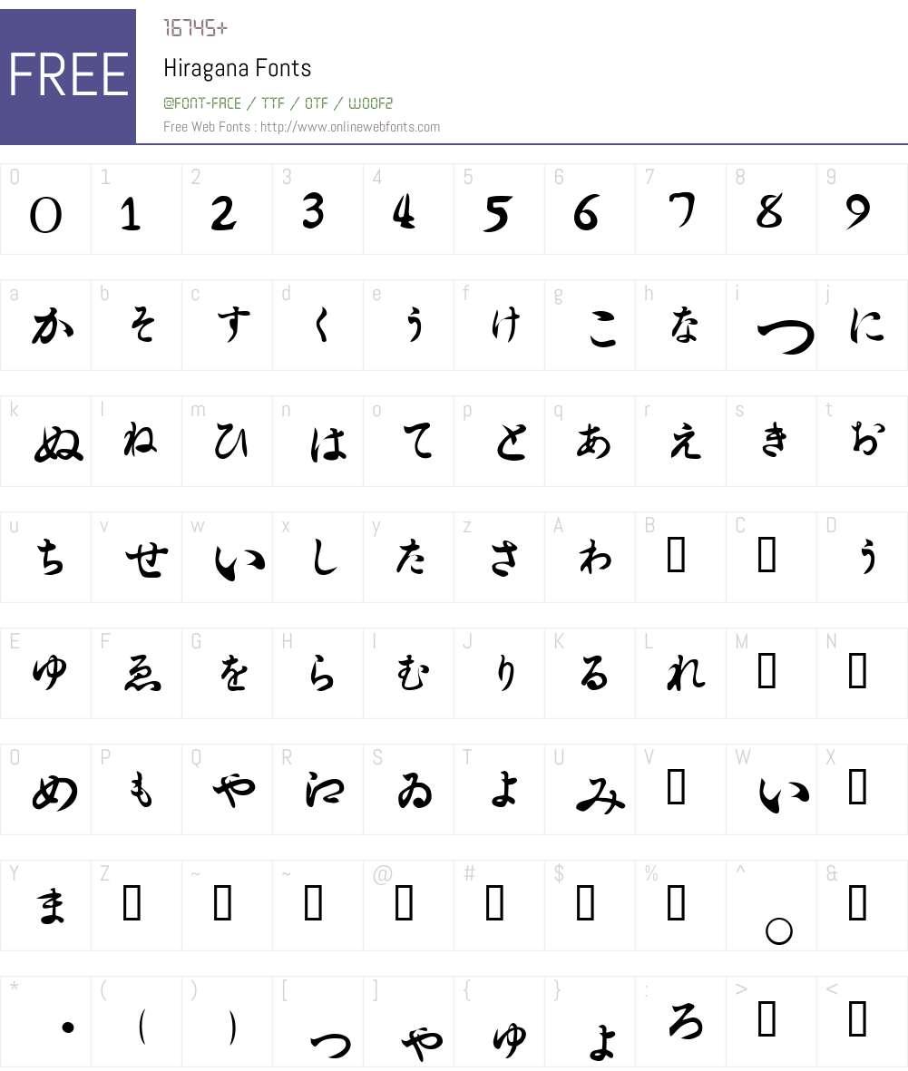 Hiragana Font Screenshots