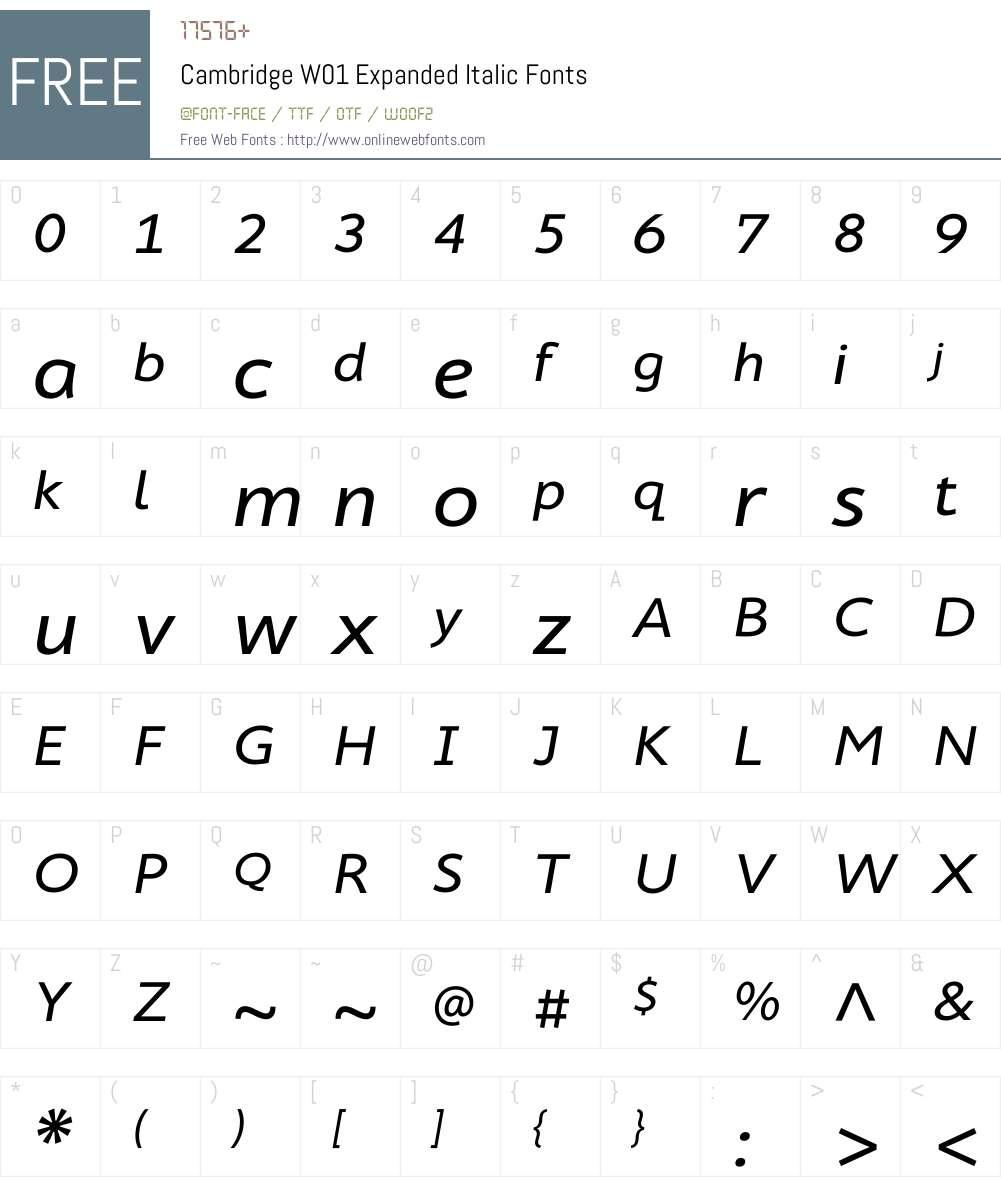 CambridgeW01-ExpandedItalic Font Screenshots