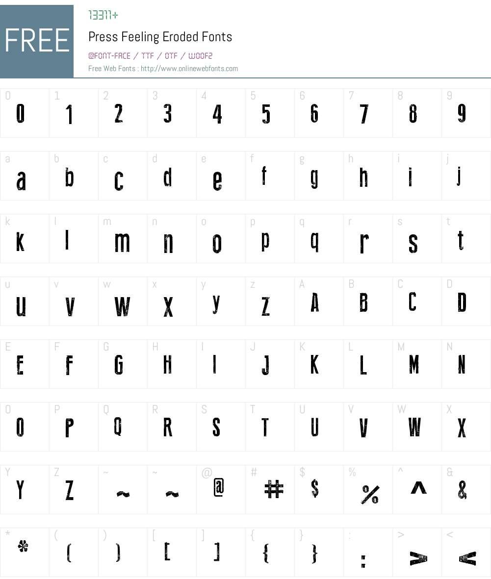 Press Feeling Eroded Font Screenshots