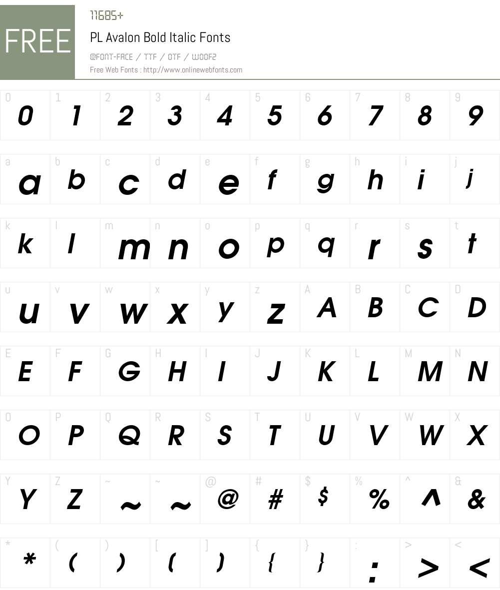 PL Avalon Font Screenshots
