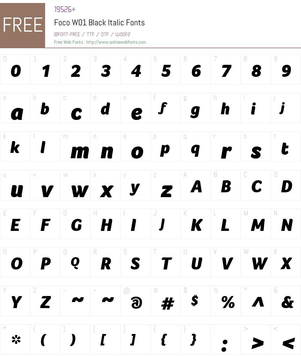 FocoW01-BlackItalic Font Screenshots