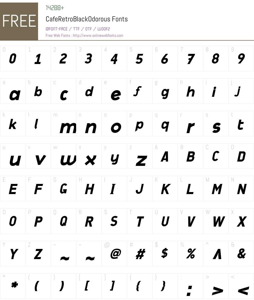 CafeRetroW00-BlackOdorous Font Screenshots