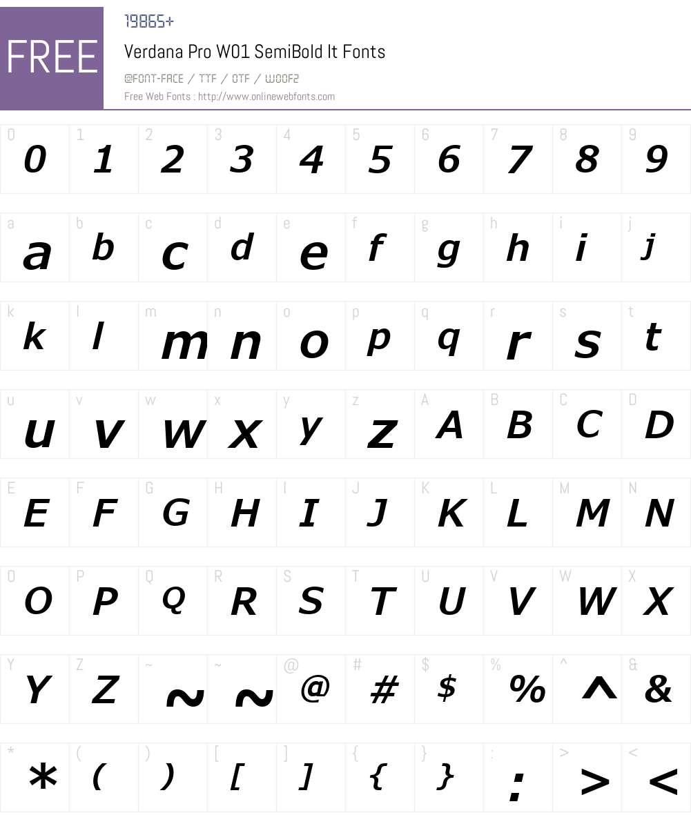 VerdanaProW01-SemiBoldIt Font Screenshots