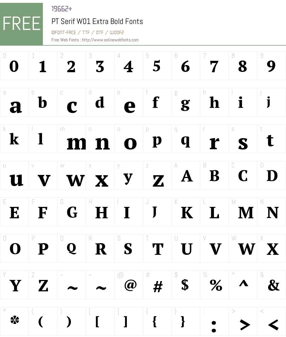 PTSerifW01-ExtraBold Font Screenshots