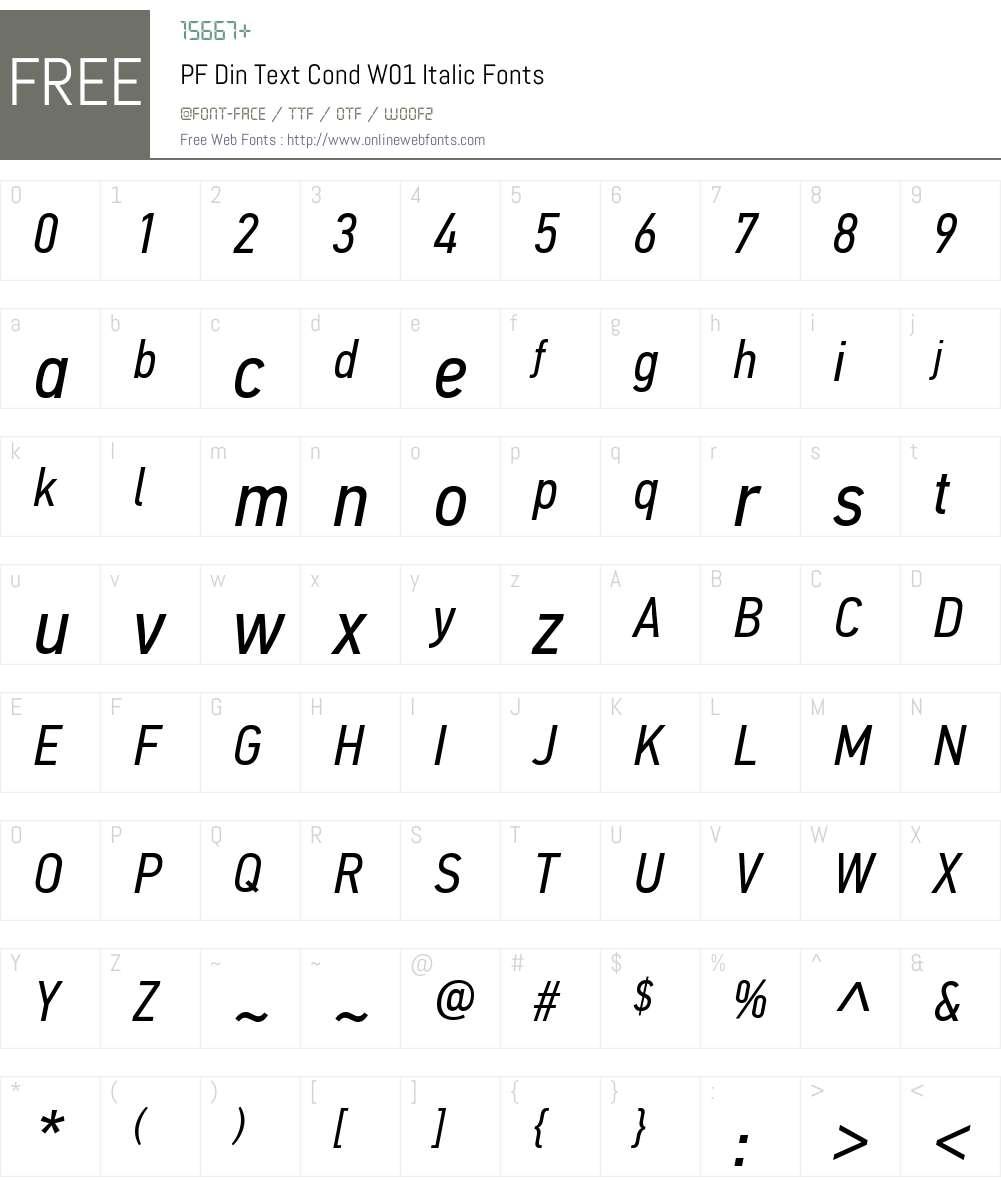 PFDinTextCondW01-Italic Font Screenshots