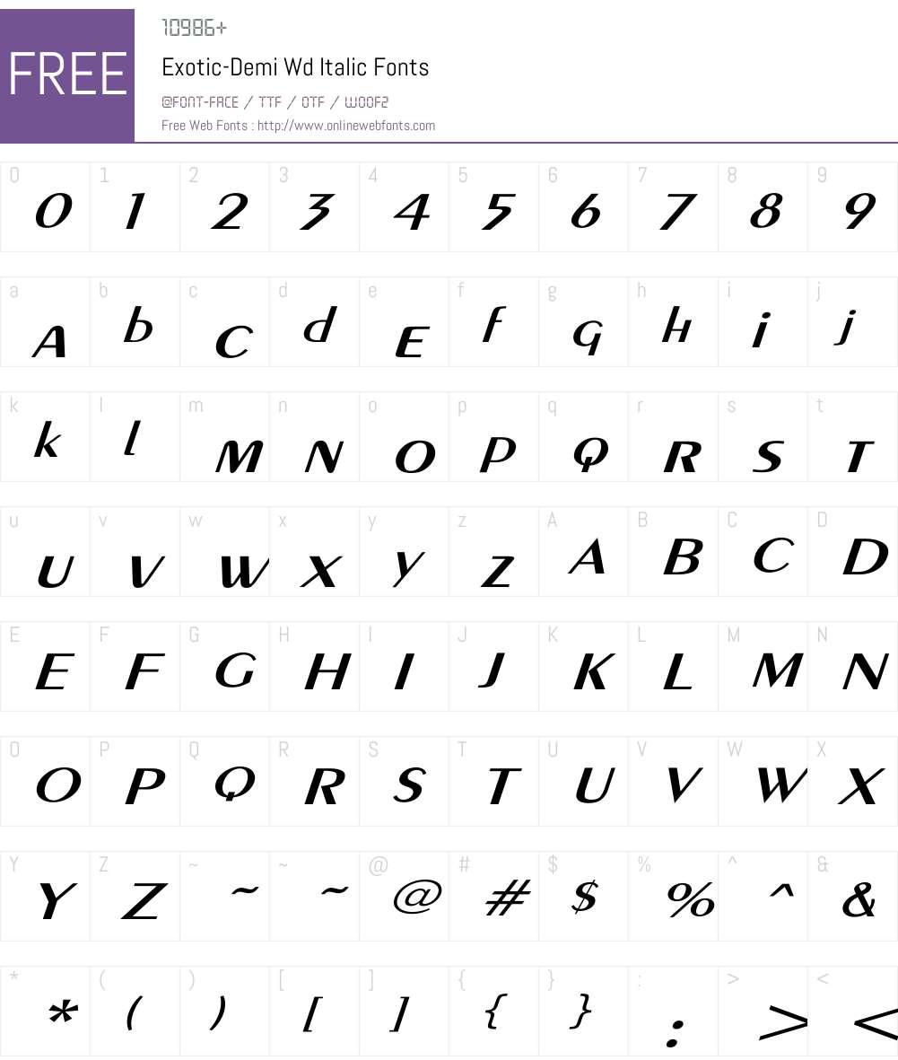 Exotic-Demi Wd Itc Font Screenshots