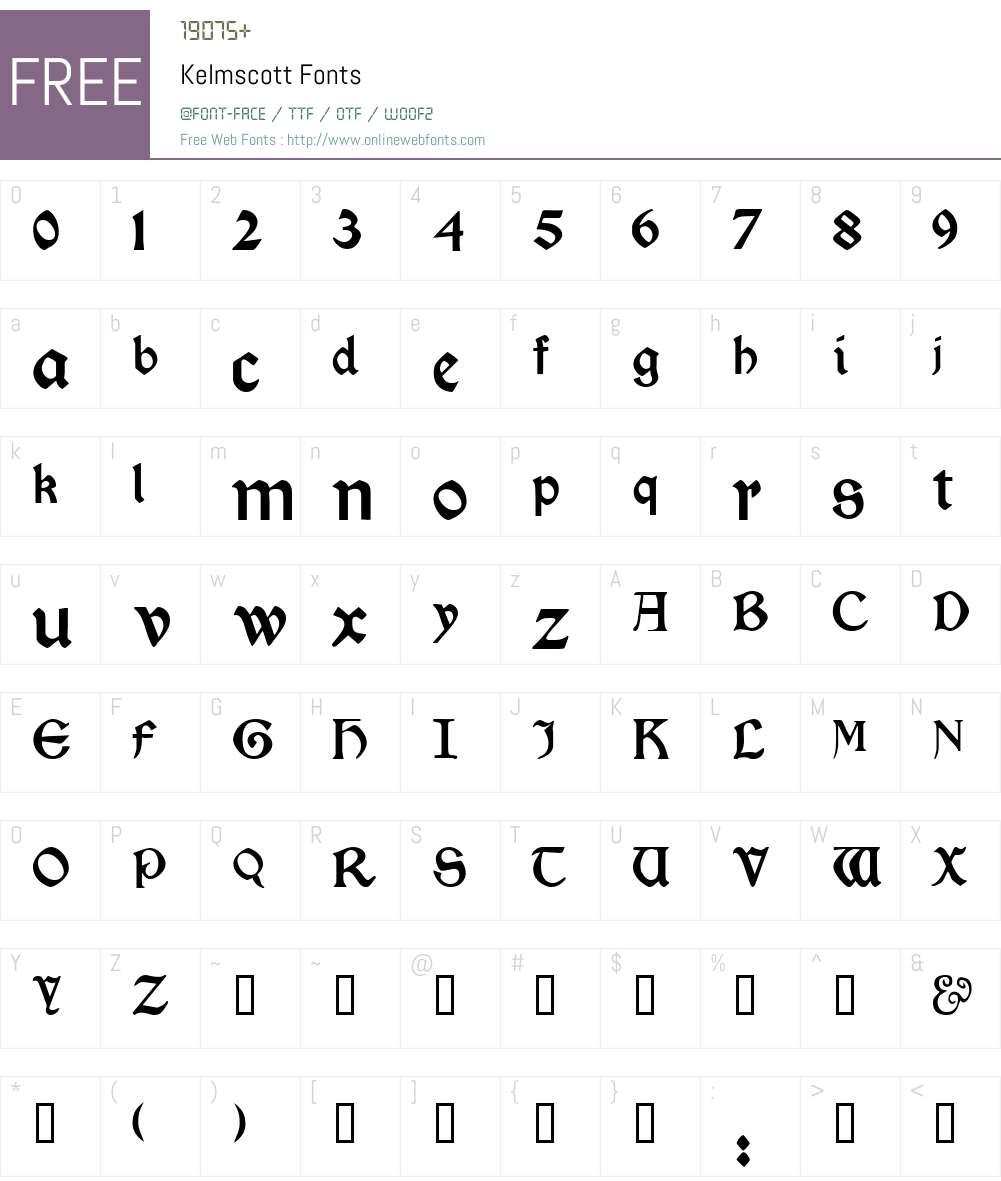 Kelmscott Font Screenshots