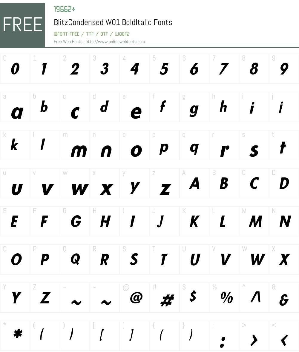 BlitzCondensedW01-BoldIt Font Screenshots